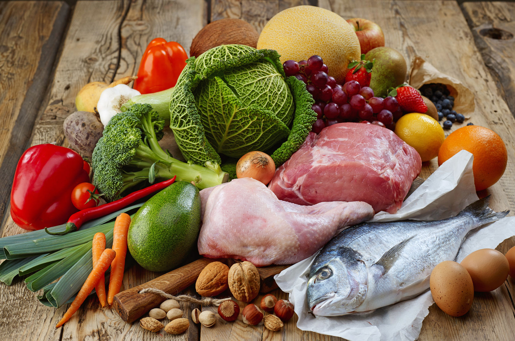 36454288 - various paleo diet products on wooden table