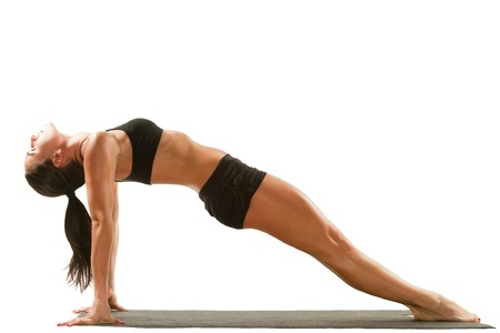 12701336 - sexy young yoga female doing yogatic exercise on isolated white background